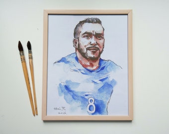 Original watercolor painting prints-Portrait of French football player Dimitri Payet