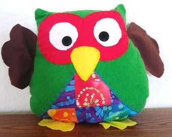 Quilted Owl Plushie: Green, Red & Brown