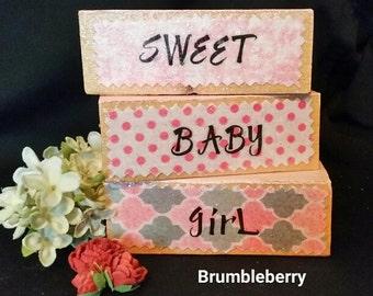 """Nursery Decor Baby Shower Decor """"Sweet Baby Girl"""" Wooden blocks Little girls room Gray, Pink & White theme, New baby, Gift for her, Handmade"""