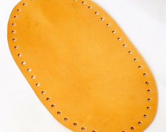 Natural tanned oval shape genuine leather bag bottom