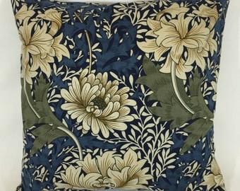"""William Morris Chrysanthemum Indigo/Cream Cushion Cover 16""""x16"""""""