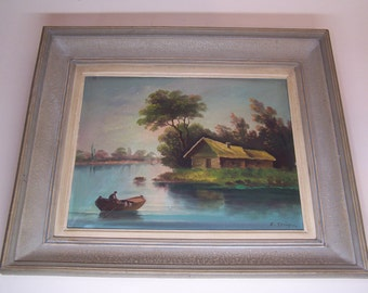 vintage original framed oil painting, a house on the lake and a boat