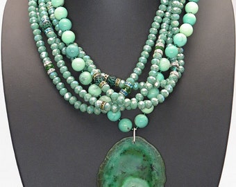 Agate necklace green grass, Austrian Crystal and silver sterling.