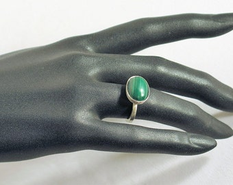 Ring in Silver 925 and malachite