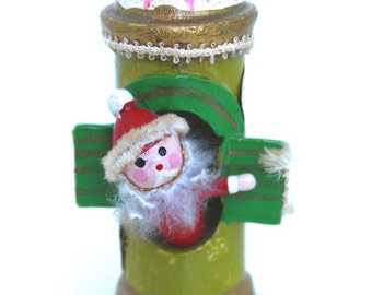 Vintage Kurt Adler Christmas Ornament - Santa at Window Turret Tower International Signs Wooden Hand Painted