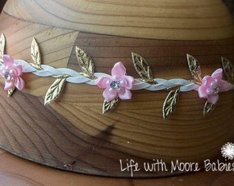Braided White Leather Headband, Light Pink Flower Crown, Light Pink and Gold Headband, Leather Leaf Headband, Light Pink Flower Headband