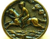 "Horse BUTTON, Antique Equestrian in green blue, 1/2""."