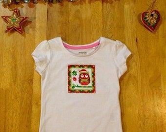 Girl's Christmas Owl Shirt - Size 1yr