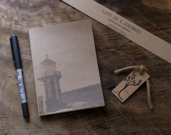 Handmade journal,Unlined Journal,Handmade Notebook,Blank Notebook,Soft Cover Journal,Pocket Notebook,Lighthouse Australia,Hornby Lighthouse