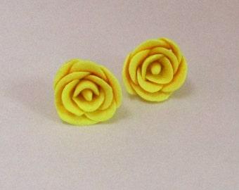 Yellow Rose Stud Earrings