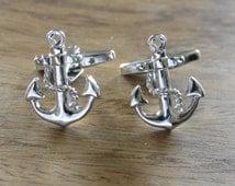 Nautical Gifts - Anchor cufflinks, Silver cufflinks, maritime gifts, Classic cufflinks, mens jewellery,sailor gifts, yachts men