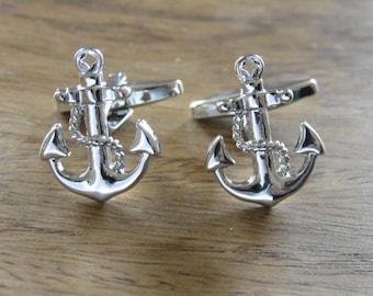 Nautical Gifts - Anchor cufflinks, Silver cufflinks, maritime gifts, Classic cufflinks, mens jewellery,sailor gifts, yachts men, anchor