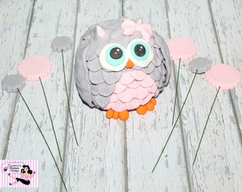 Fondant Cake Edible Topper Owl Set