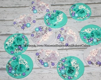 12x Edible Vintage Flower Butterfly Girls Cake Toppers