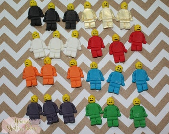 Fondant Edible Cupcake Cake Toppers 24x Lego Men Block Toy