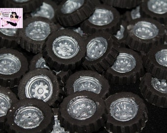 50x Small 2-2.5cm Car Wheels Tyres Edible Fondant Cupcake Cake Toppers