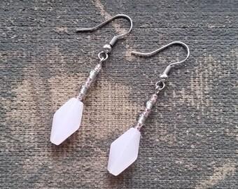 Pink Milk Glass Earrings, Handmade Earrings, Dangle Earrings-Ready To Ship