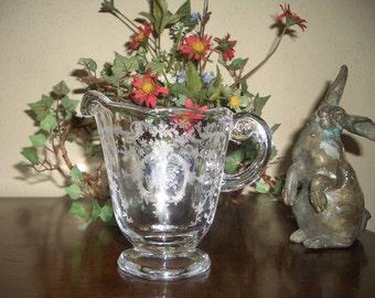 Beautiful Fostoria Clear Creamer---Etched Navarre Pattern