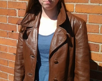 Leather Trench Coat - 80s Womens Leather Coat - Size M