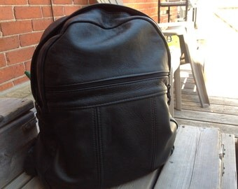 Vintage Leather Backpack / Soft Black Leather Full Size School Bag / Over Sized Leather Backpack