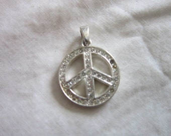 Vintage 60's Retro Hippy Peace Sign w/ Rhinestones Charm or Pendant