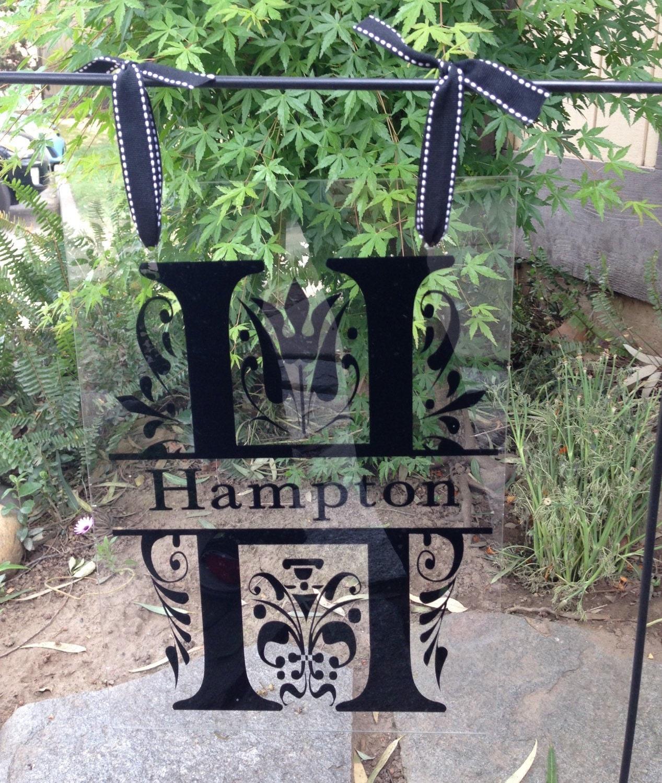 Clear Acrylic Garden Flag Split Letter Monogram Garden