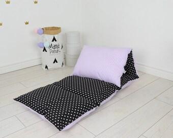 pillow bed baby nap mat sleeping bed sleepover toddler nap mat cotton mat sleeping mattress bedding riversable double sided- Purple Night