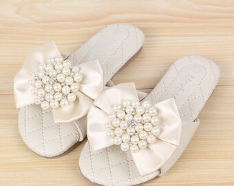 Girls Sandals Shoes Flip Flops for Toddler Girls Silk Ribbon Pearls Youth Girl Shoes Beach Summer Shoes