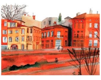 Architecture Print A4 View of Toulouse ( South of France). Quai de la Daurade.