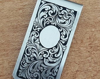Money Clip, hand engraved, personalized