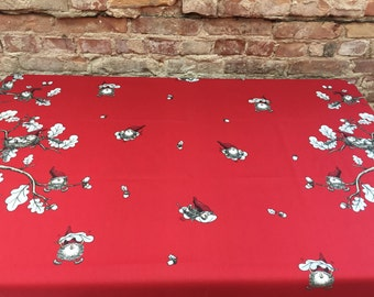 Tablecloth red with gnomes and oak leaves and acorns, Scandinavian design  Christmas tablecloth