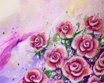 Roses abstract original acrylic canvas
