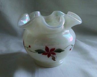 Fenton Art Glass Pearl Irridescent Ruffled Hand Painted Poinsettia Vase