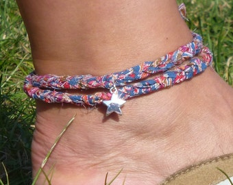 Liberty of London Print  Double Wrap Anklet/Ankle Bracelet with Silver Star Charm, Beach Jewellery, Surf Style, Festival Jewellery