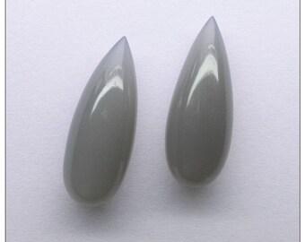 Grey Moonstone Plain Undrilled Teardrop Shape Briolette Pair - 28x11 mm