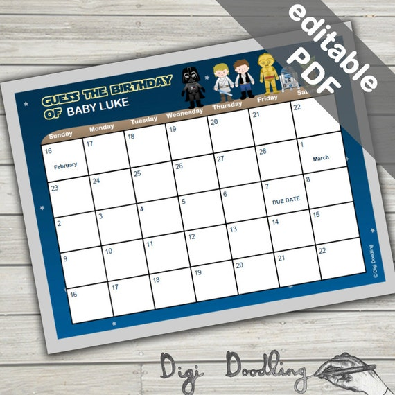 guess the due date calendar star wars baby shower game editable