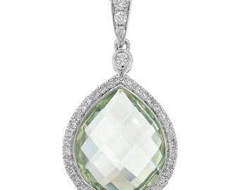 14K White Gold Checkered Pear Green Amethyst Diamond Tear Drop Pendant Necklace