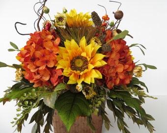 Fall Sunflower Floral Arrangement, Fall Centerpiece, Thanksgiving, Autumn, Hydrangea