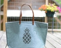 ON SALE Pineapple Market Bag-Personalized Icon Tote Bags-Anchor-Whale-Bee-Pineapple-Initial Monogram-Zipperered and Laminated Bag-light blue