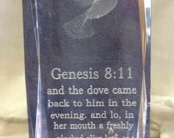 Scriptural Lead Crystal Paperweight Of Genesis 8:11