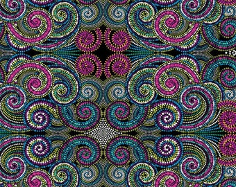 Palindromes, Multi-colored swirls, Symmetrically patterned fabric, by Benartex, 0582