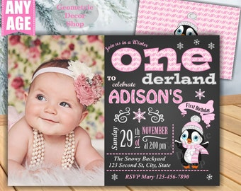 Baby it's cold outside Birthday invitation Pink Penguin Winter Wonderland invite Onederland Girl Chalkboard First Photo Photograph BDW9