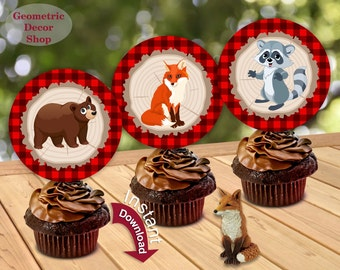 Instant Download Woodland Birthday Cupcake Toppers Centerpiece Stickers Gift Tags bunny bear fox Lumberjack  Baby Shower Buffalo Plaid CTLJ2