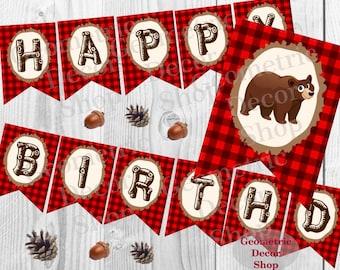 Happy Birthday Banner Bear Instant Download Printable Lumberjack Rustic Lumber Jack Digital Boy Girl Buffalo plaid party Woodland red BNLJ3