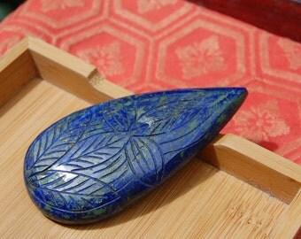 Massive Vintage Carved Lapis Cabochon Pendent Stone Tear Drop