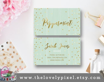 Foil + Green Business Card Digital Printable | Custom, DIY Calling Card, Printable, Personalize | Sweet Foil, affordable business cards