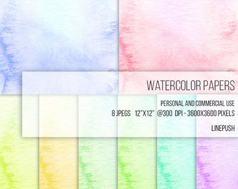 SALE! Watercolor Paper Digital Papers Soft Pastel Colors. Watercolor Clipart Texture Pack Wallpapers Backgrounds Clip Art