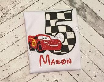 Cars birthday shirt/ Lightning McQueen birthday shirt/ Personalized Cars birthday shirt/ Race car birthday shirt