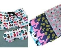 Flannel Pajama Shorts and Sleep Mask, Pink Flamingo, Puppy, Whales, PJ's, Gift Set, Women's, Teens, Sleepwear, bridesmaids gift, Sorority