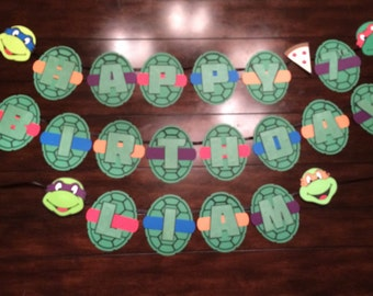 Personalized Teenage Mutant Ninja Turtle Birthday Banner With Age And Name